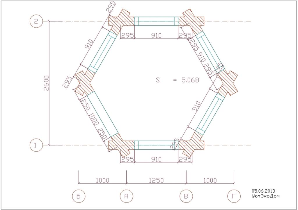 Беседка шестигранная - план