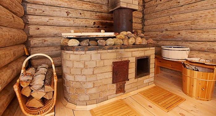 Деревянная баня с печкой