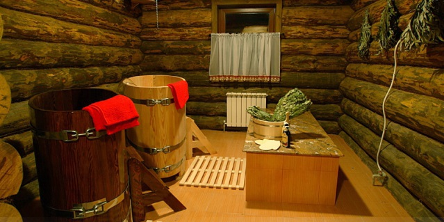 Деревянныя баня изнутри